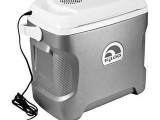 Igloo 28 Quart Iceless Thermoelectric 12 Volt Portable Ice Chest Beverage Cooler  Silver