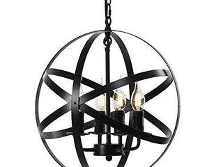 ZOSIMIO light Chandeliers Farmhouse Rustic Industrial Pendant lighting Fixture with Metal Spherical Shade Chandelier for Dining Room  Kitchen Island  Foyer  Black