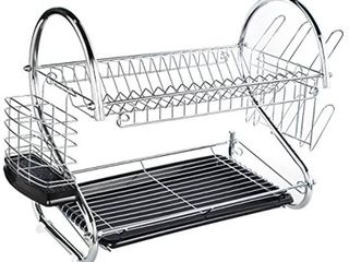 ADDMIRRE large Capacity 2 Tire Dish Drainer Drying Rack Chrome Finished