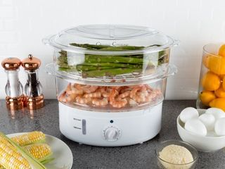 Vegetable Steamer Rice Cooker  6 3 Quart Electric Steam Appliance with Timer for Healthy Fish  Eggs  Vegetables  Rice  Baby Food by Classic Cuisine