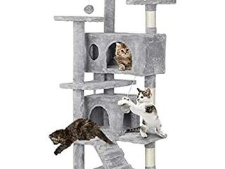 SUPERJARE Cat Tree Condo Furniture with Scratching Posts  Plush Cozy Perch and Dangling Balls  Multi level Kitten Tower   Gray
