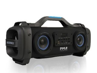 Wireless Portable Bluetooth Boombox Speaker   800W Rechargeable Boom Box Speaker Portable Barrel loud Stereo System with AUX Input  USB  1 4  in  Fm Radio  4  Subwoofer  DJ lights   Pyle PBMSPG148