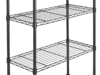 AmazonBasics 5 Shelf Shelving Storage Unit on 4  Wheel Casters  Metal Organizer Wire Rack  Black  30l x 14W x 64 75H