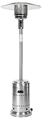 AmazonBasics Outdoor Patio Heater with Wheels  Propane 46 000 BTU  Commercial   Residential   Stainless Steel