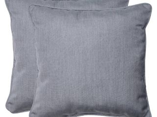 Pillow Perfect Outdoor Indoor Sunbrella Canvas Granite Throw Pillows  18 5  x 18 5  Gray  2 Pack