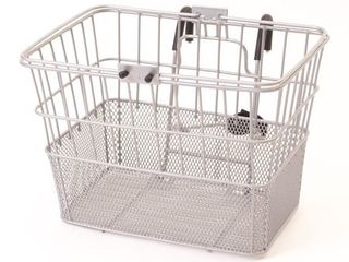 Retrospec Bicycles Detachable Steel Half Mesh Apollo Bike Basket with Handles  Silver