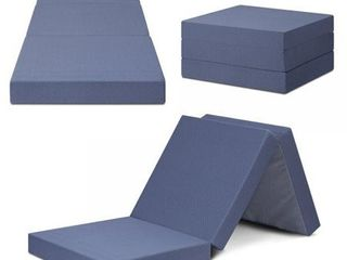 SlEEPlACE Multi layer Tri Folding Memory Foam Topper  Single  Blue grey