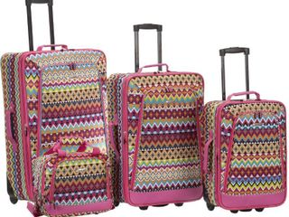Rockland Tribal 4 piece Expandable Rolling Upright luggage Set