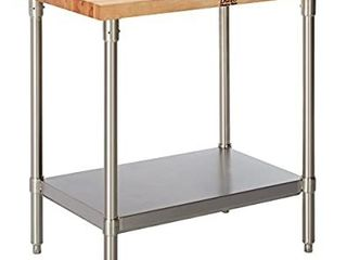 John Boos SNS01 Maple Top Work Table with Stainless Steel Base and Shelf  36  x 24  x 1 3 4  Retails   540