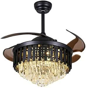 Crystal Ceiling Fan Chandelier Indoor luxury Hiding Quiet 42 Inch Polished Gold Retractable Ceiling Fan light lED 3 Color Settingi1 4 Remote Control  black