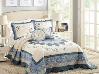 Modern Heirloom Queen Charlotte Bedspread Blue