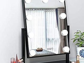 FENCHIlIN Hollywood Mirror with light large lighted Makeup Mirror Vanity Makeup Mirror Smart Touch Control 3Colors Dimable light Detachable 10X Magnification 360ARotation Black