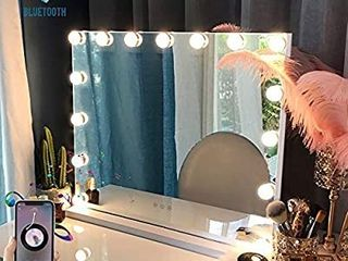 FENCHIlIN large Vanity Mirror with lights and Blutooth Speaker  Hollywood lighted Makeup Mirror with 15 Dimmable lED Bulbs for Dressing Room   Bedroom  Tabletop or Wall Mounted  Slim Metal Frame White