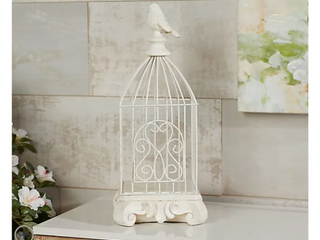 Indoor  Outdoor 17  Metal Birdcage and Pedestal by Valerie