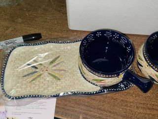 Temp tations Old World Basket Weave Soup and Sandwich set confetti