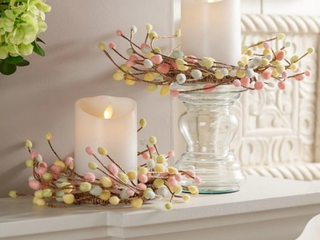 Set of 3 Pastel Pussy Willow Candle Rings