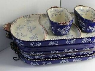Temp tations Floral lace 6 Piece Baker Set with Cookbook Color Blue