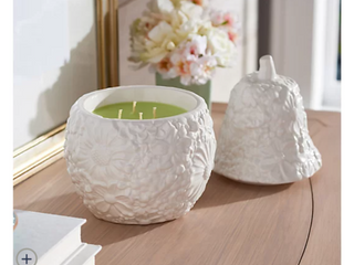 HomeWorx by Harry Slatkin Filled 14oz Embossed Pear Ceramic Candle