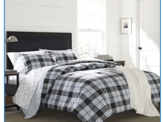 Atlantic Blue lewis Plaid Comforter Set  Twin  2 pc   Eddie Bauer