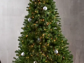 9 foot Noble Fir Pre lit String light or Unlit Hinged Artificial Christmas Tree by Christopher Knight Home