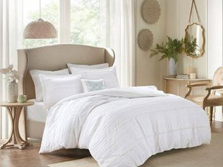 Alexis 2 in 1 Duvet Set  King California King  White   4pc