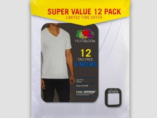 Small Fruit of the loom Men s 6 6 Super Value Pack V Neck T Shirt Undershirt   White S
