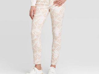 Women s High Rise Snakeskin Skinny Jeans   Universal Thread Cream 14  Ivory