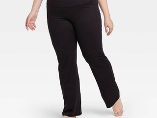 Women s Plus Size Contour Power Waist Mid Rise Straight leg Pants 31 5    All in Motion Black 2X