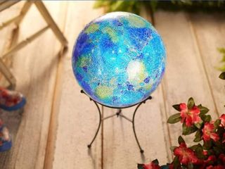 Indoor Outdoor 12  Illumiated Mosaic Sphere with Stand Ocean