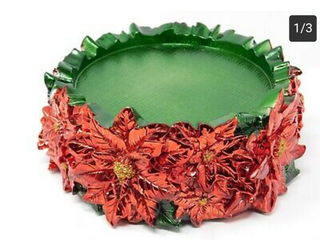 HomeWorx by Harry Slatkin Decorative Pedestal Candle Holder POINSETTIA red green