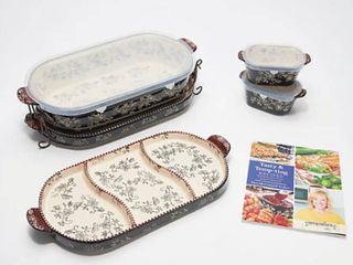 Temp tations Floral lace 6 Piece Baker Set with Cookbook