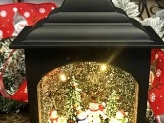 12  Illuminated Glitter lantern with Holiday Scene Snowman