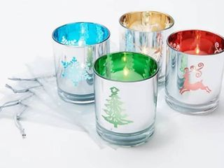 Set of 4 Illuminated Holiday Votives with Sheer Bags by Valerie