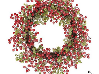 Set of two 12in glistering boxwood and Berry wreath by Valerie