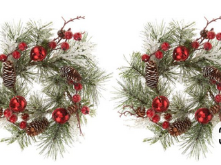 Set up 2 jingle bell and pine cone candle rings by Valerie