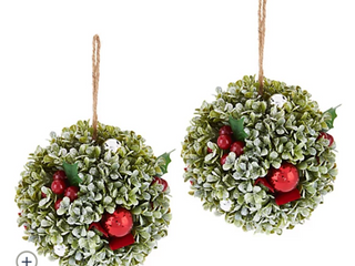 Set of  2  7  Boxwood  Berry and Ornament Spheres by Valerie