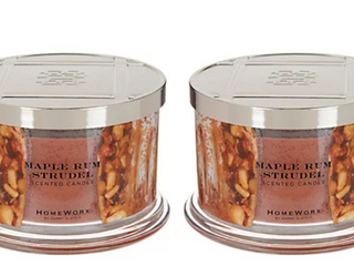 HomeWorx by Harry Slatkin Set of 2 Maple Rum Strudel 4 Wick Candles