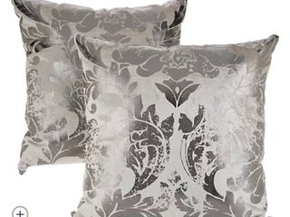 Casa Zeta Jones Set of 2 Metallic Damask Pillows