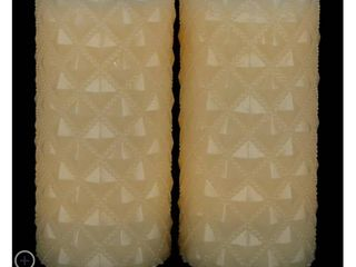 Set of  2  4  x 8  Quilted Flameless Wax Pillar Candles by Valerie