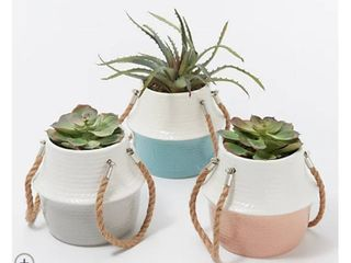 Home Reflections Set of 3 Potted Faux Succulents