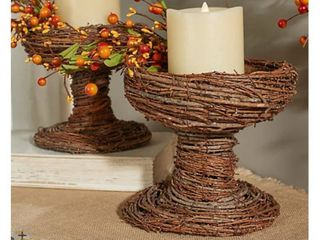 Set of 2 Natural Grapevine Pedestals by Valerie