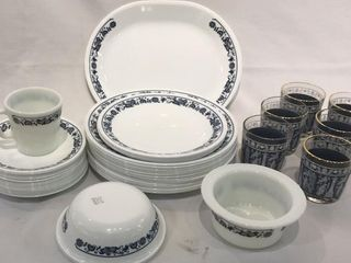 Corelle Dishes with Blue Trim  6 Small Glass
