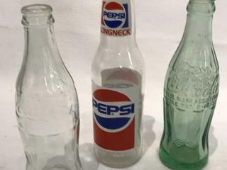 longneck Pepsi Bottle  2 Coca Cola Bottles