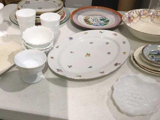 Milk Glass and Assorted Plates and Platter and