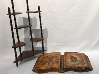 Corner Shelf  Wood Book Clock with Praying Hands