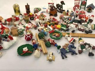 Variety of Mostly Wood Christmas Ornaments