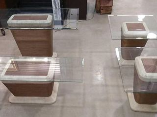 4  Modern Glass Top Accent Tables