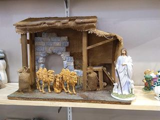 large Wood   Burlap Nativity Manger