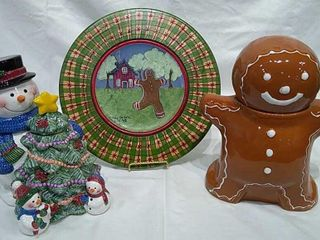 2  Cookie Jars   Wood Platter