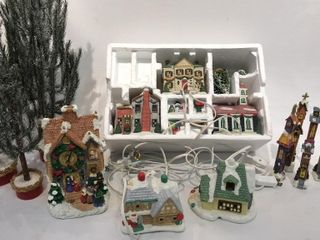 Christmas Village  Clock  Trees
